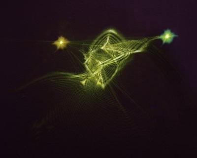 Vue d'artiste du réseau d'intrication entre atomes de césium et un faisceau lumineux